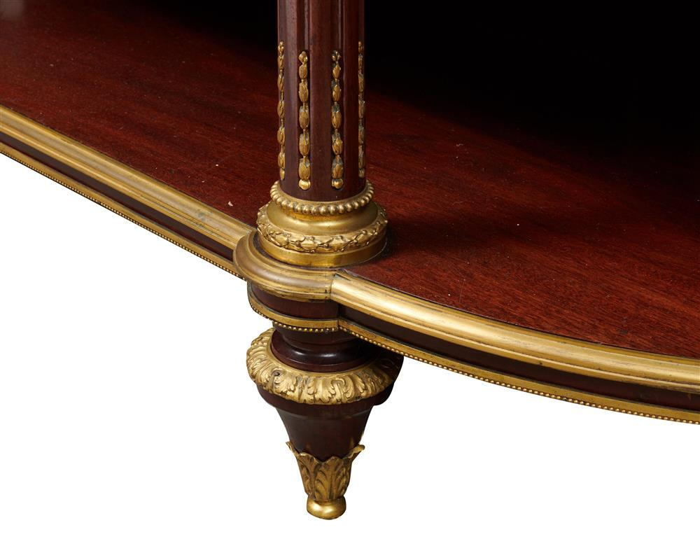 Fine Louis XVI Style Ormolu Mounted Marble Top Mahogany Three Tier Dessert Console, late 19th century