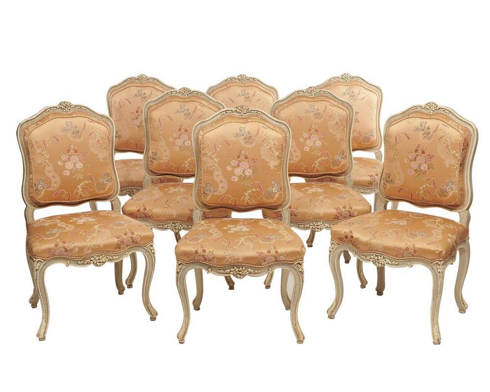Suite of Eight Louis XV Style Carved and Creme Painted Dining Chairs, 20th century, with peach silk upholstery