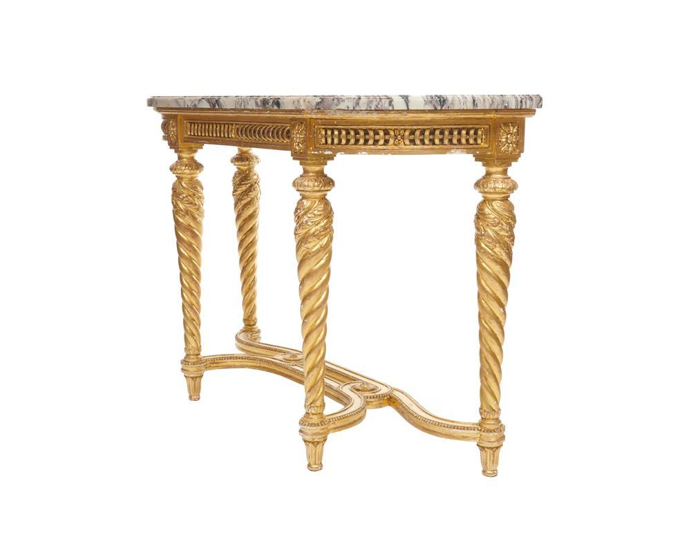 Louis XVI Style Carved Giltwood Marble Top Console Table, late 19th century