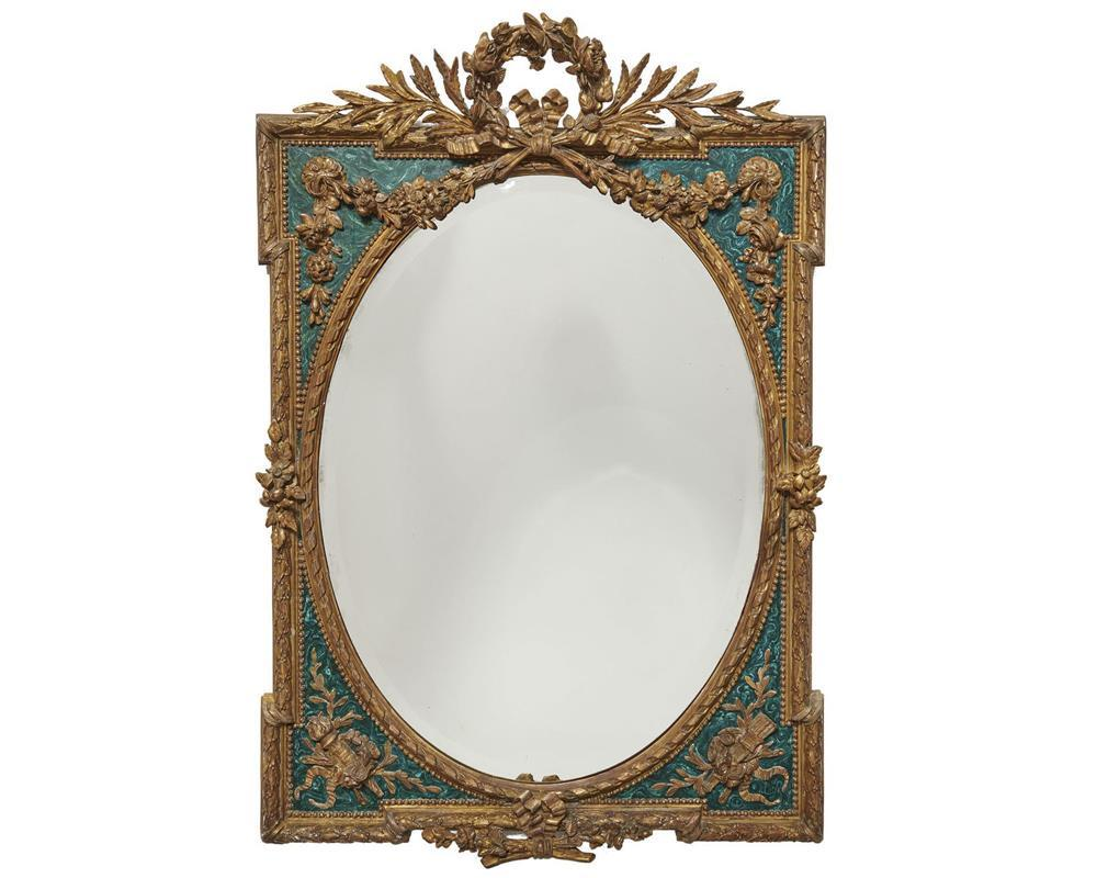 Continental Carved Giltwood and Faux Malachite Bevelled Glass Wall Mirror, 19th century