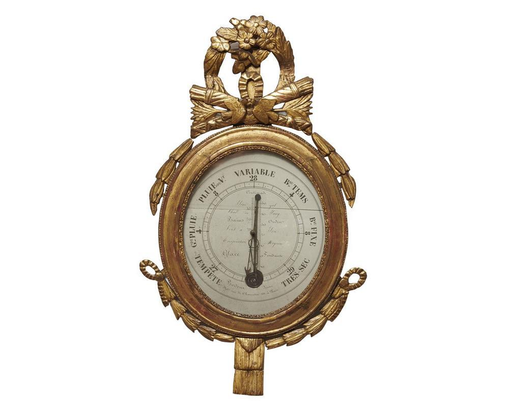Louis XV Giltwood Barometer, 18th century, the finial with doves, arrows and quivers