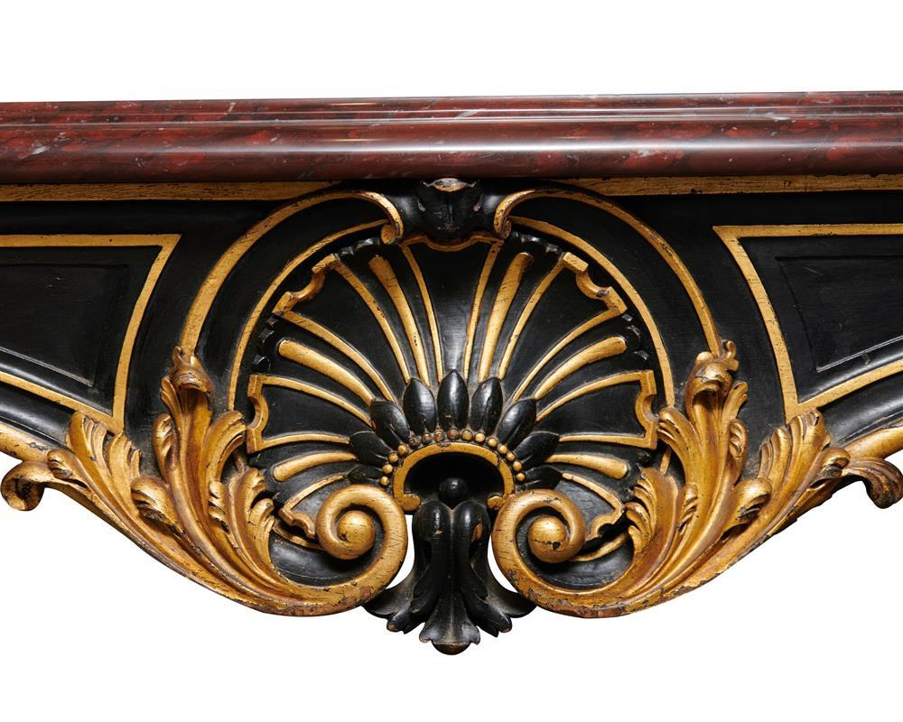 Pair of Louis XV Style Carved, Painted, Giltwood, and Rouge Marble Top Console Tables, ca. 1900