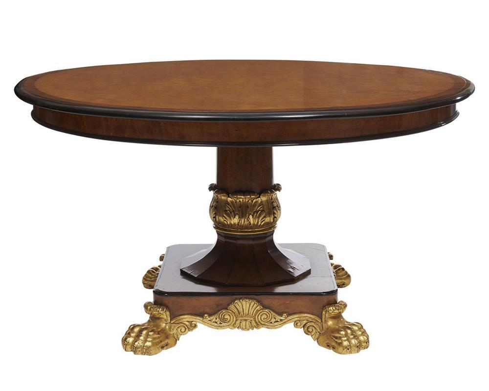 Continental Mahogany and Burlwood Inlaid Parcel Gilt Paw Foot Pedestal Center Table, 19th century