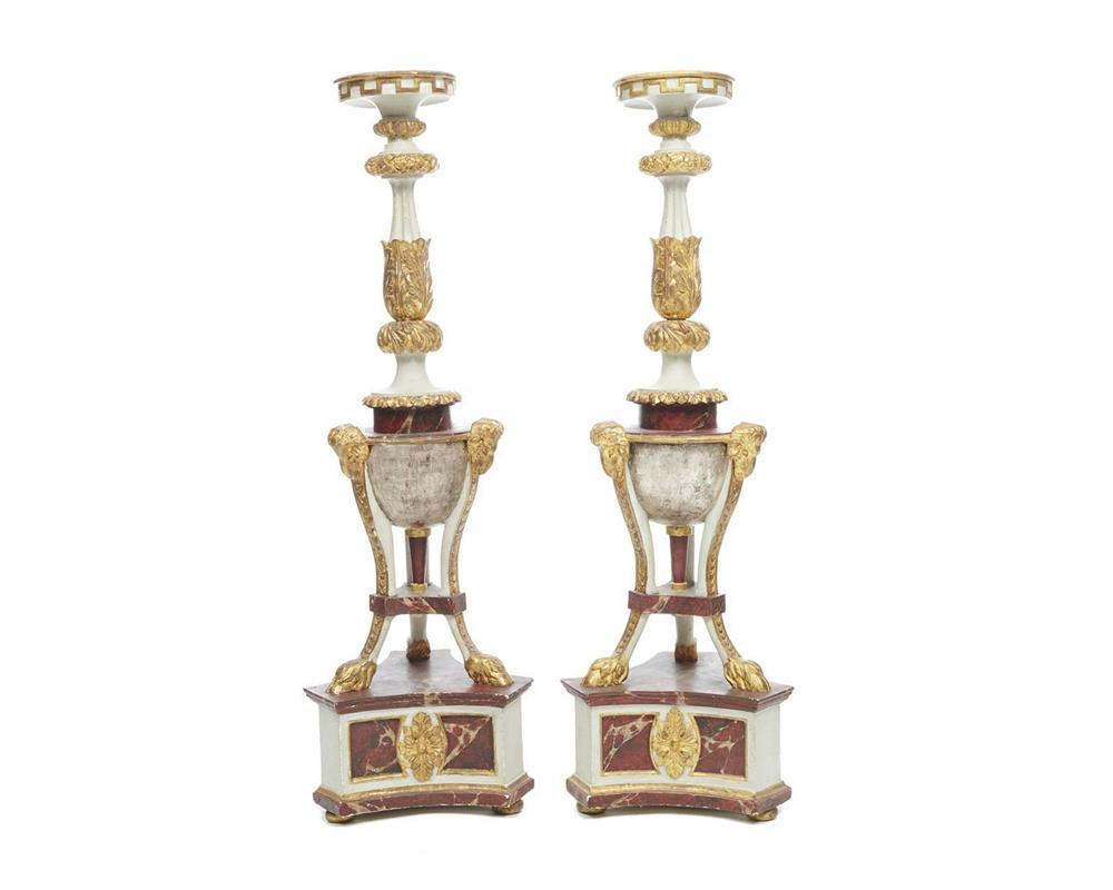 Pair of Continental Carved Faux Marble and Gilt Painted Torchieres, late 18th century