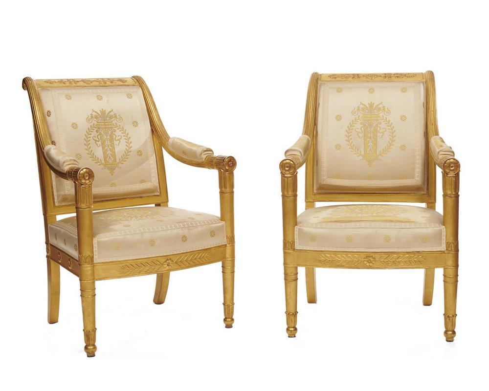 Fine Pair of Empire Style Carved Giltwood Fauteuil, early 19th century, with white silk upholstery, eached stamped Jacob D. R. Meslée
