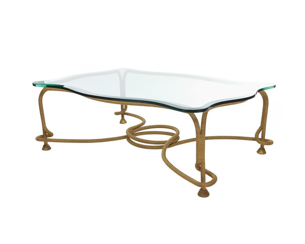 Gilt Bronze Ropetwist and Bevelled Glass Top Coffee Table, modern