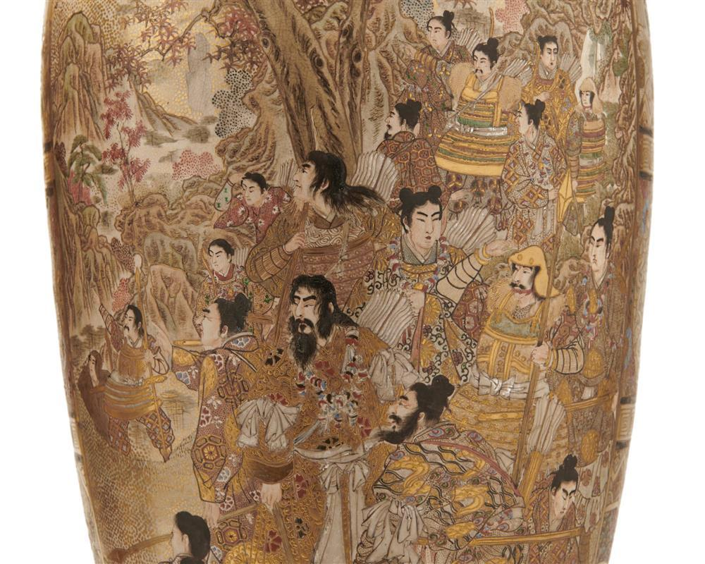 Pair of Satsuma Figural Decorated Vases, ca. 1910