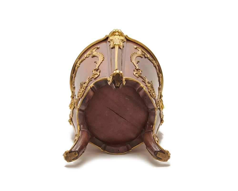 Louis XV Style Ormolu Mounted Mahogany Footed Cylinder Cellarette, late 19th century