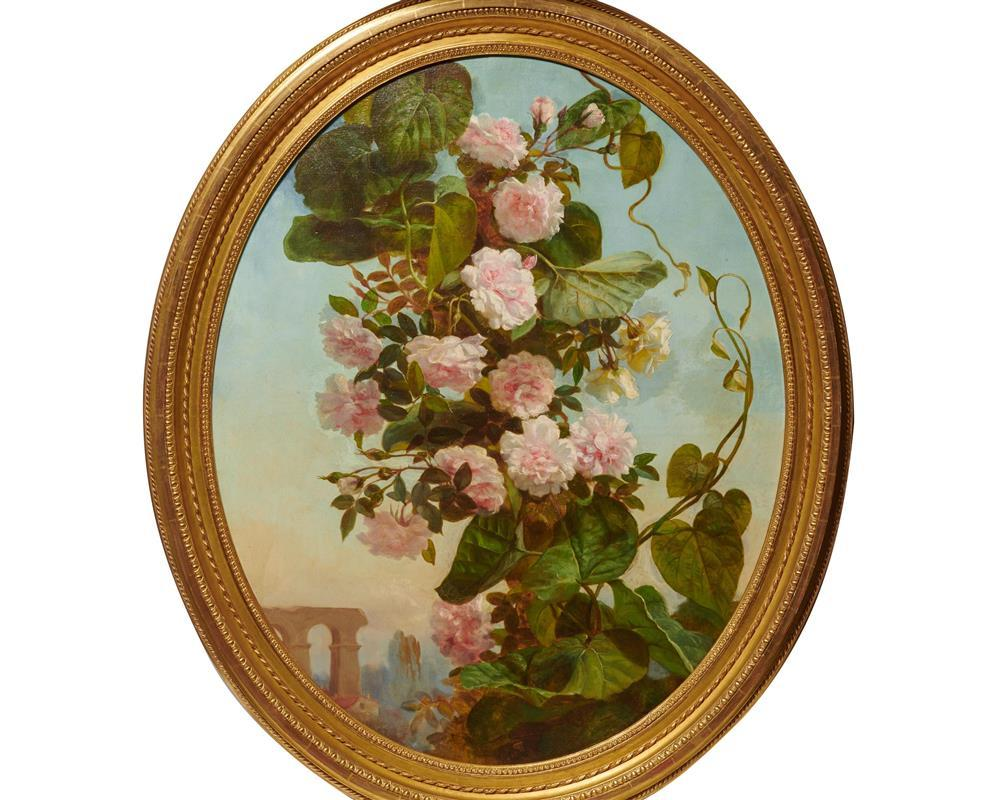 Pair of Continental Oval Floral Still Life Oil Paintings, 19th century