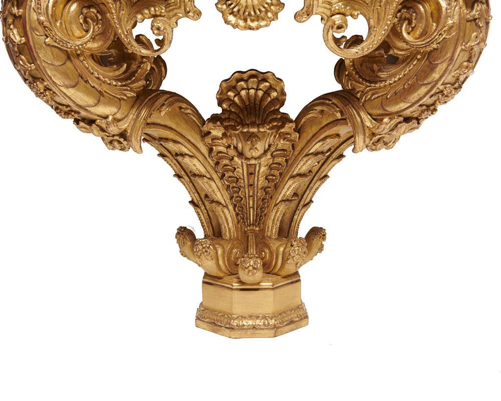 Continental Specimen Marble Top Carved Giltwood Console Table, 19th century