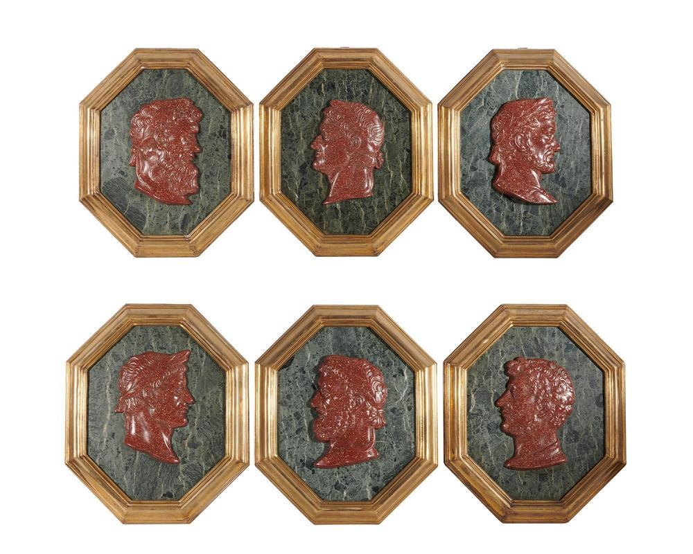 Set of Six Octagonal Marble and Faux Marble Bas Relief Classical Profile Portraits