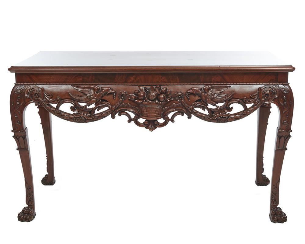 Georgian Style Carved Mahogany ConsoleTable, ca. 1900, robustly carved with shells, birds and fruit, stamped J. Hicks. London
