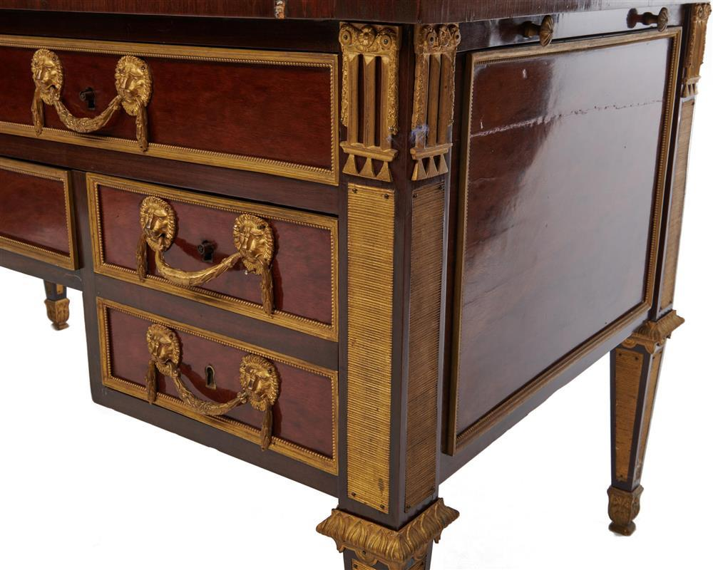 Louis XVI Style Ormolu Mounted Marble Top Figured Mahogany Cylinder Desk, 19th century