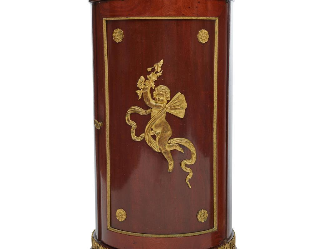 Pair of Empire Ormolu Mounted Marble Top Cylinder Side Cabinets, 19th century