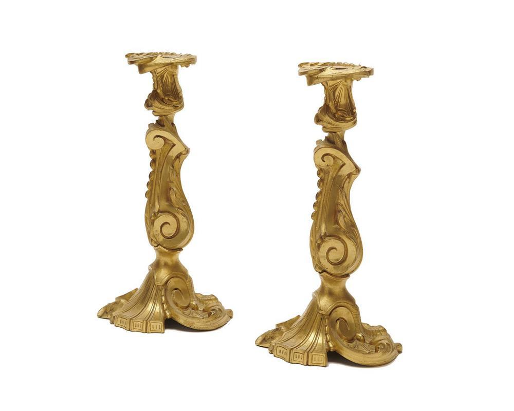 Pair of Louis XV Style Ormolu Candlesticks, ca. 1900