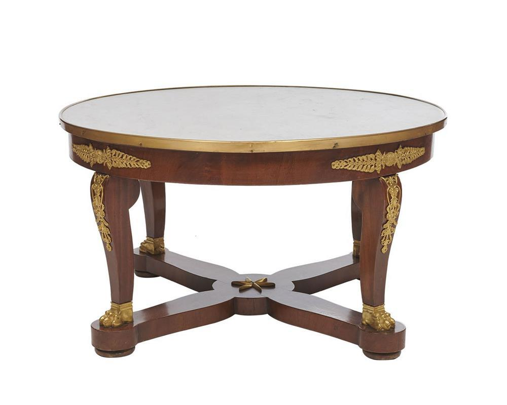 Empire Style Ormolu Mounted Marble Top Circular Low Table, early 20th century