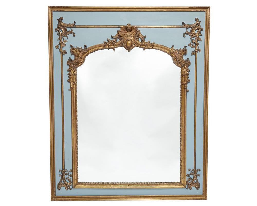 Louis XVI Style Painted and Giltwood Trumeau Mirror, late 19th century