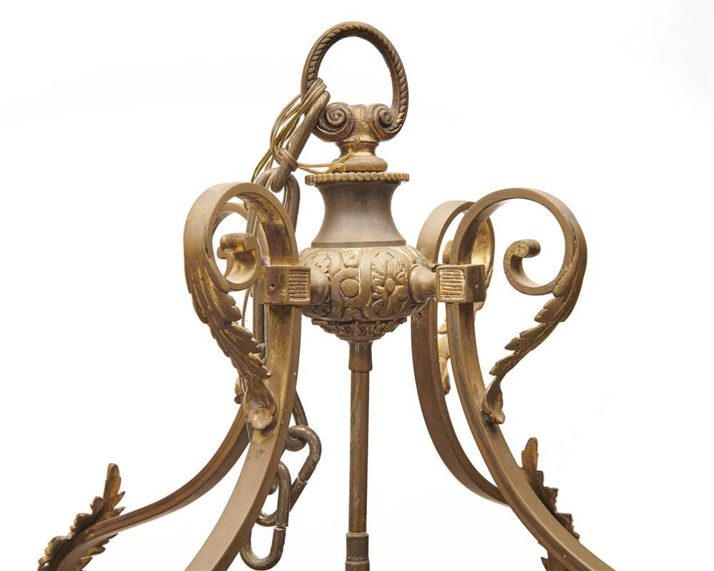 Continental Gilt Bronze Four Light Hall Lantern, ca. 1900