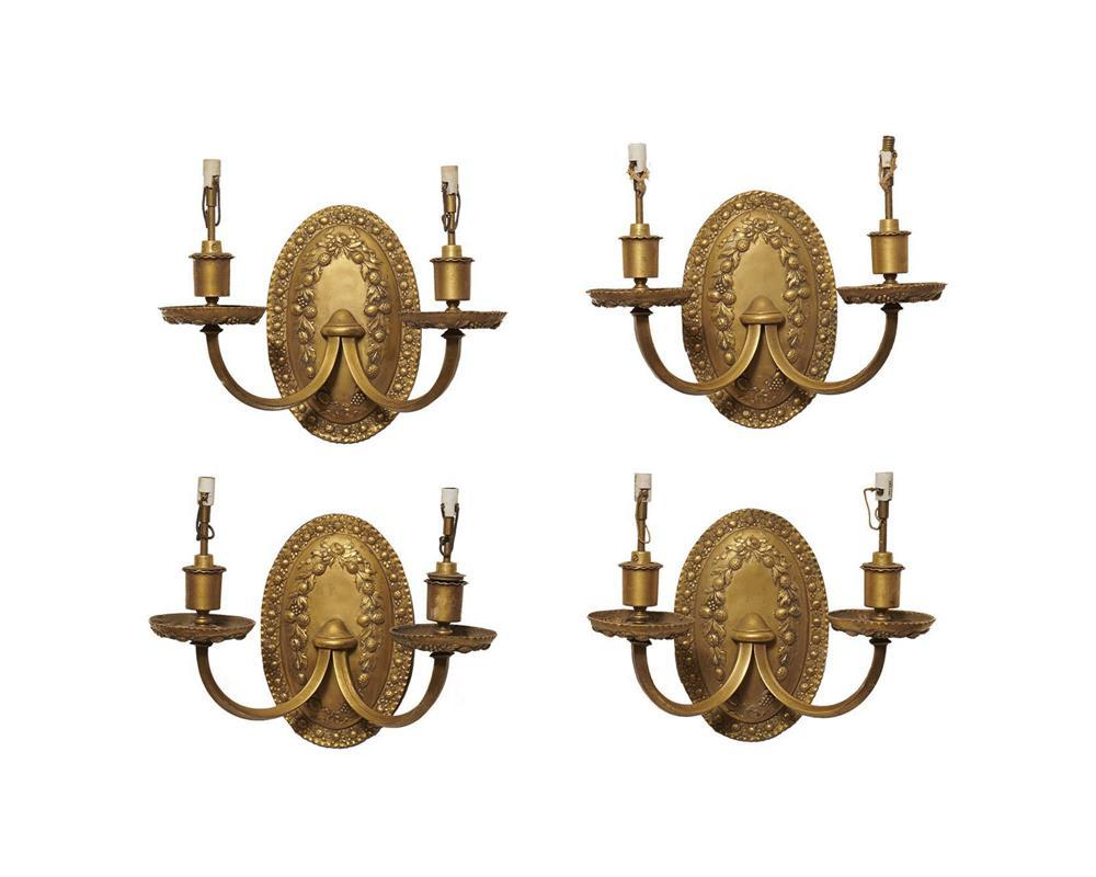 Set of Four American Gilt Bronze Two Light Sconces, early 20th century, with fruit garland decoration, Caldwell, maker