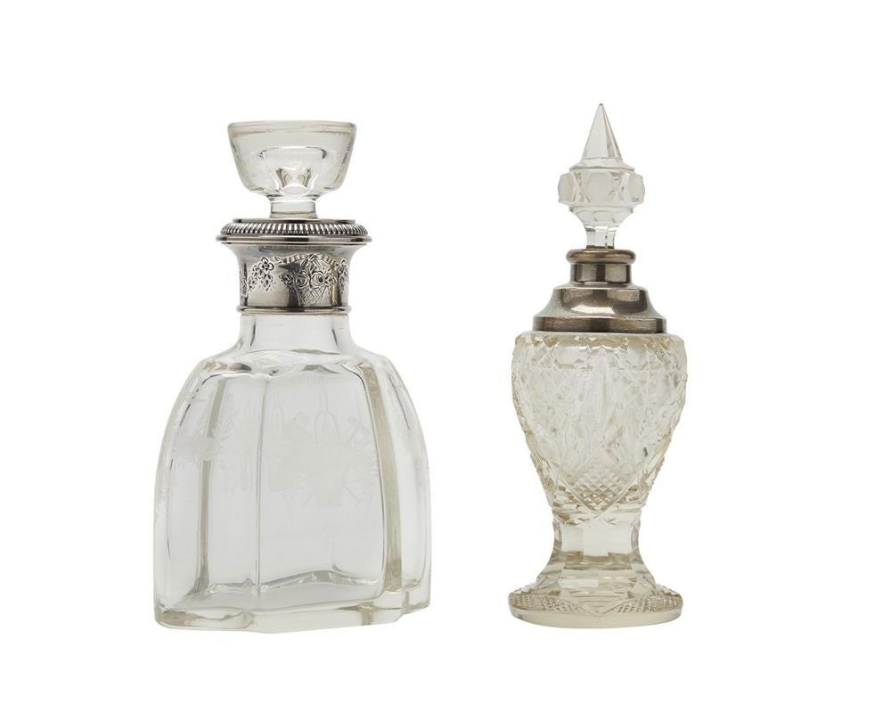 Continental Etched Glass and Silver Decanter and a Cut Glass and Silver Bottle