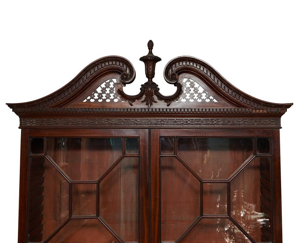 George III Carved Mahogany Bureau Bookcase, 18th century