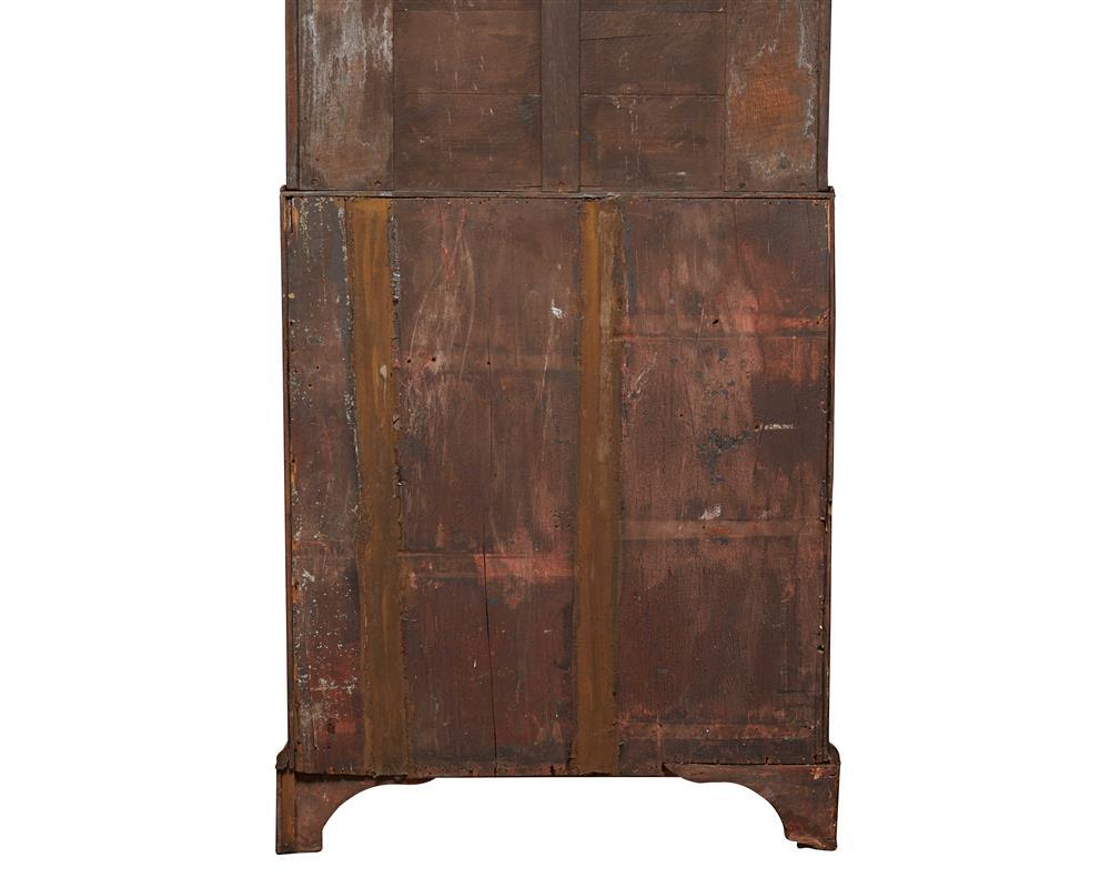 Queen Anne Walnut Secretary Bookcase with Eglomise Mirrored Panel