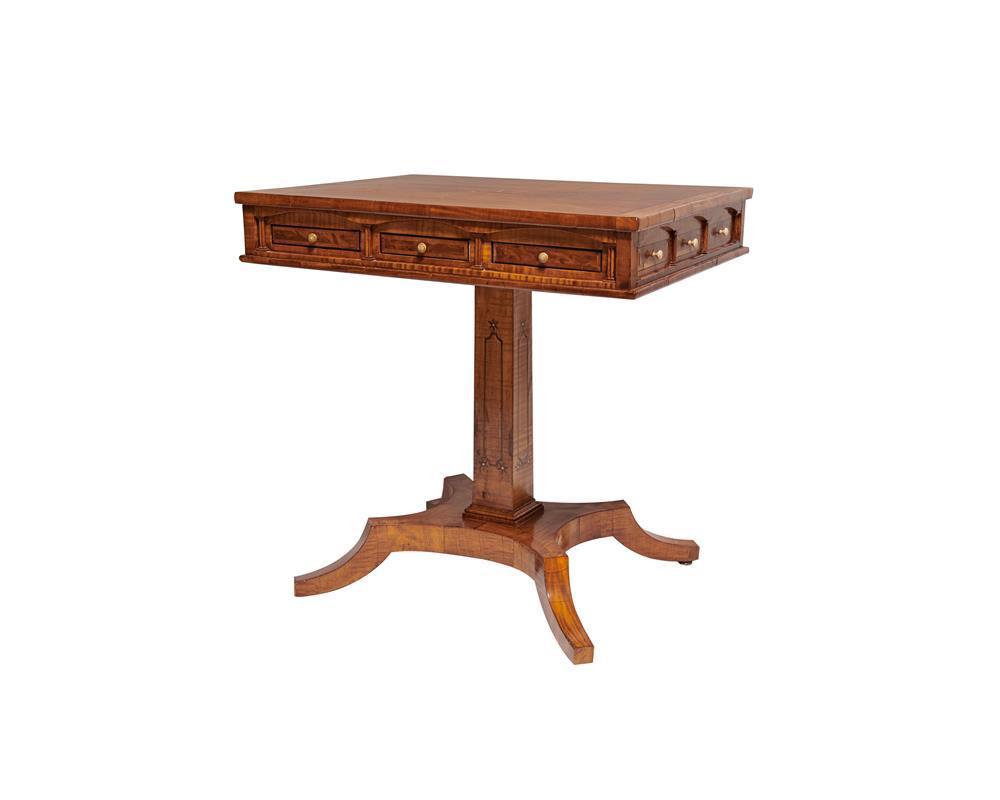 Austrian Biedermeier Inlaid Satinwood Pedestal Sewing Table, early 19th century