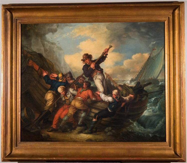MATHER BROWN, (American, 1761-1831), SMUGGLERS PUSHING OFF THEIR BOAT, 1824, oil on canvas, 30 1/2 x 37 in.342 (frame: 39 x 45 in.)