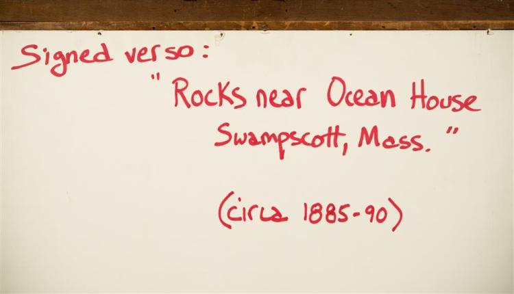 EDWARD A. PAGE, (American, 1850-1928), ROCKS NEAR OCEAN HOUSE, SWAMPSCOTT, MASS., ca. 1885-1890, watercolor, sight: 12 1/2 x 19 1/2...