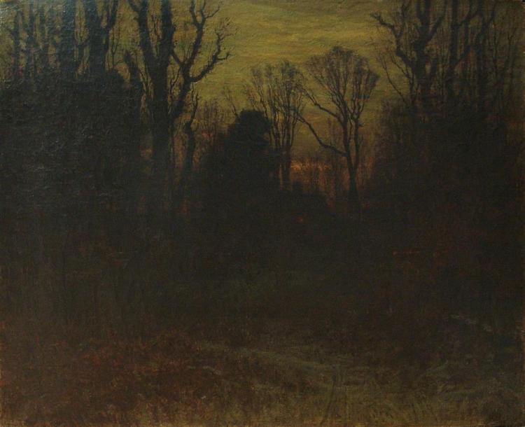 JOHN JOSEPH ENNEKING, (American, 1841-1916), WINTER SUNSET, 1881, oil on canvas, 40 x 50 in.