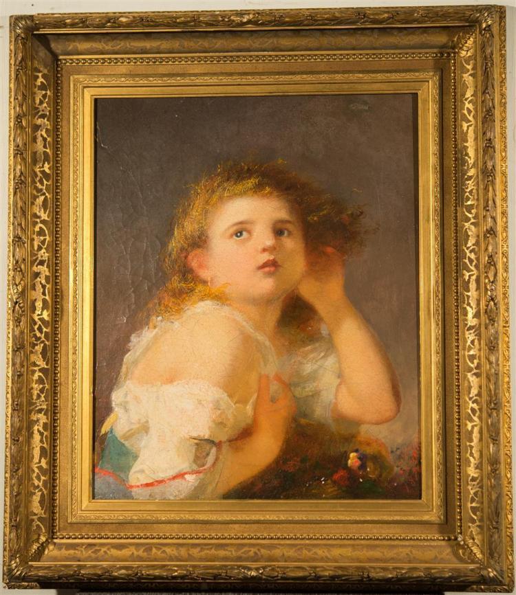 GEORGE F. FULLER, (American, 1822-1884), GIRL LISTENING TO LIGHTNING, 1876, oil on board, 21 1/2 x 17 1/2 in. (original period frame...