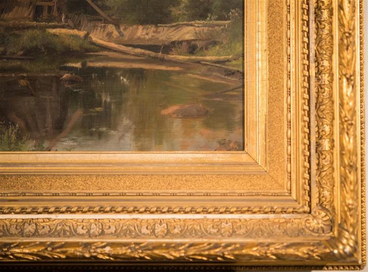 BOSTON SCHOOL, (late 19th century), MILL POND, ca. 1890, oil on board, 14 1/4 x 20 in. (original period frame: 24 x 30 in.)