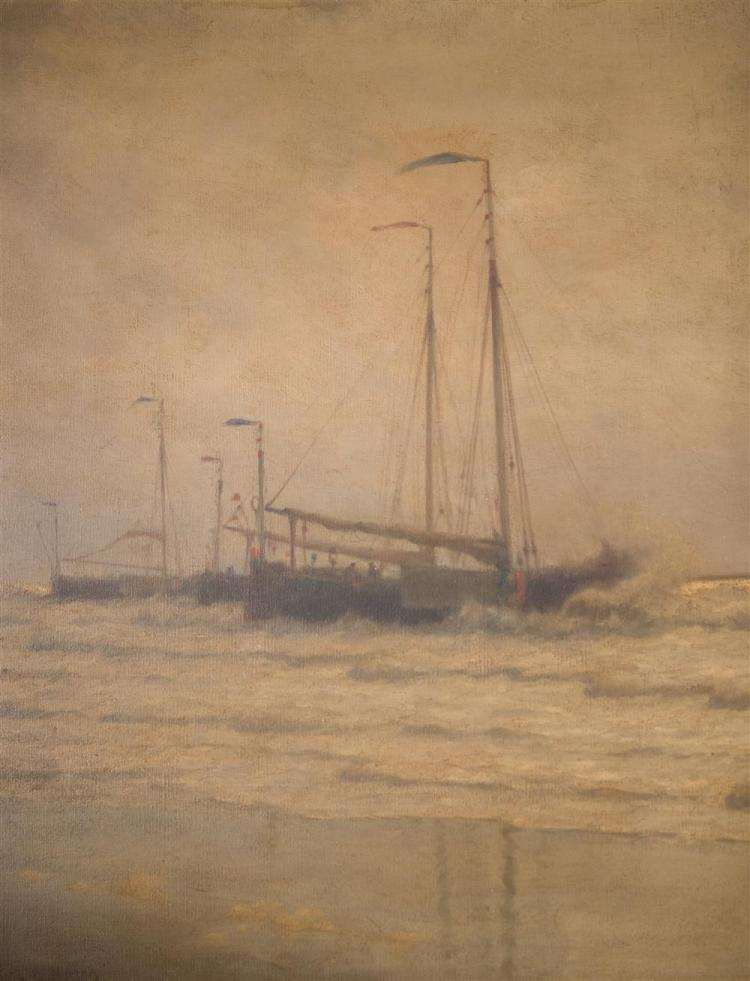 WILLIAM EDWARD NORTON, (American, 1843-1916), FISHING FLEET RIDING OUT A STORM, ca. 1885, oil on canvas, 30 x 45 in. (Carrig Rohane...