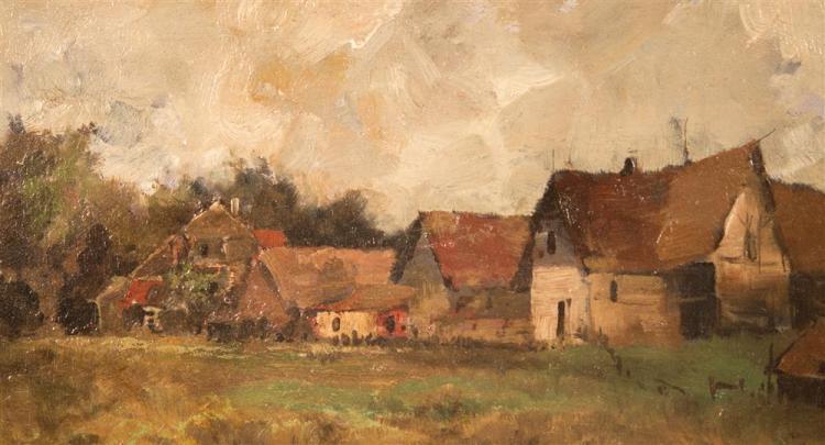 ROSS STERLING TURNER, (American, 1847-1915), POLLING, ca. 1880, oil on board, 8 1/4 x 12 3/4 in. (period walnut frame: 12 x 18 1/2 i...