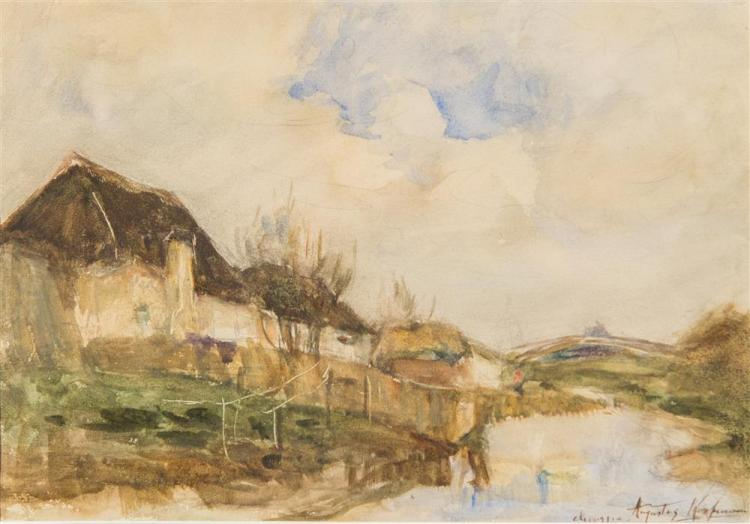AUGUSTUS B. KOOPMAN, (American, 1869-1914), CHIOGGIA, ca. 1900, watercolor on paper, sight: 9 x 13 in. (frame: 16 1/4 x 20 in.)