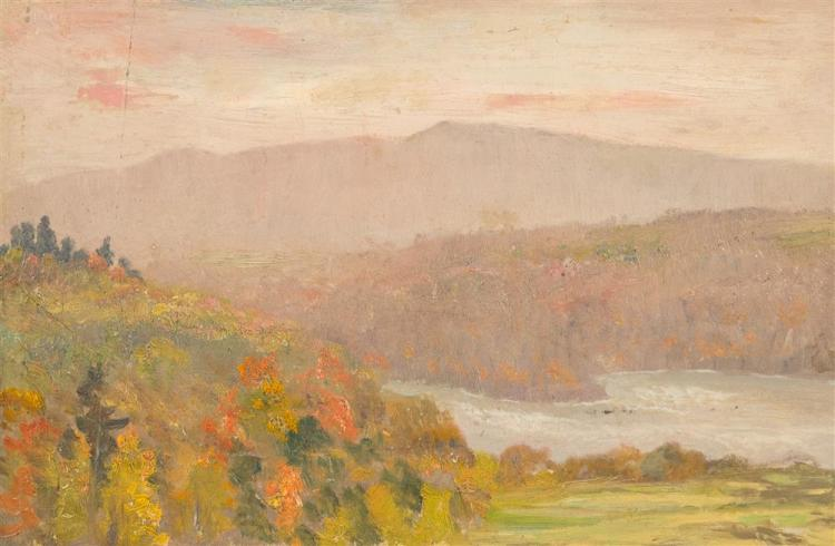 JOHN JOSEPH ENNEKING, (American, 1841-1916), NEW HAMPSHIRE MOUNTAIN VIEW, ca. 1890, oil on artboard, 8 x 12 in. (hand-carved frame:...