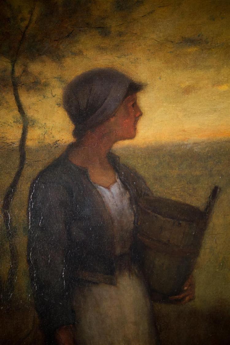 ELLIOT DAINGERFIELD, (American, 1859-1932), MILKMAID, 1890, oil on canvas, 34 x 24 in. (framed: 40 1/2 x 31 in.)