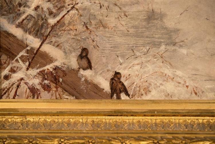 FIDELIA BRIDGES, (American, 1834-1923), WINTER BIRDSONG, ca. 1878, oil on canvas, 10 x 14 in. (original gilt frame: 13 3/4 x 17 3/4...