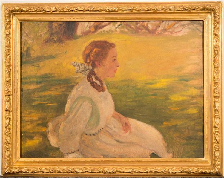 FRANK H.L. TOMPKINS, (American, 1847-1922), PORTRAIT OF A GIRL, ca. 1915, oil on canvasboard, 11 x 14 in. (frame: 13 1/2 x 16 3/4 in...