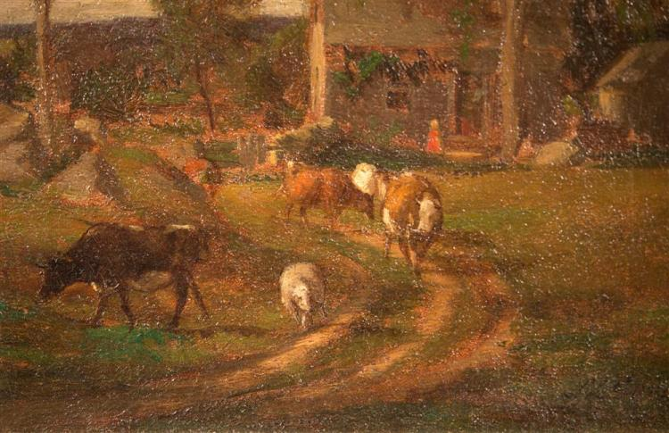 SAMUEL LANCASTER GERRY, (American, 1813-1891), FARMYARD, ca. 1890, oil on canvas, 8 1/2 x 7 1/2 in. (replacement gilt frame: 12 1/2...