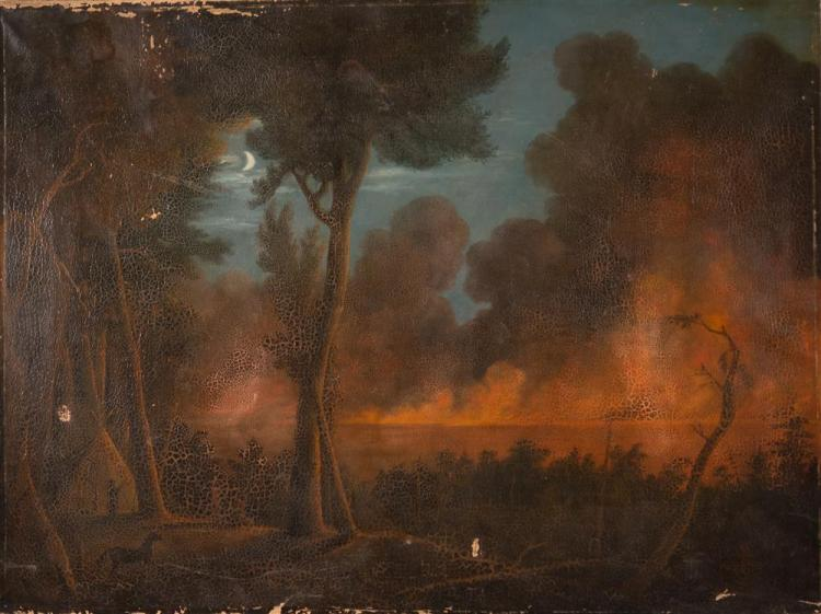 RALPH ALBERT BLAKELOCK, (American, 1847-1919), WILDFIRE APPROACHING CAMP, ca. 1890, oil on canvas, 30 x 40 in.