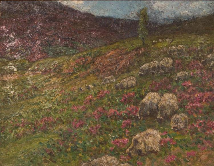 JOHN JOSEPH ENNEKING, (American, 1841-1916), SHEEP IN HEATHER, ca. 1900, oil on canvas, 14 x 18 in. (replacement gilt frame: 19 1/2...