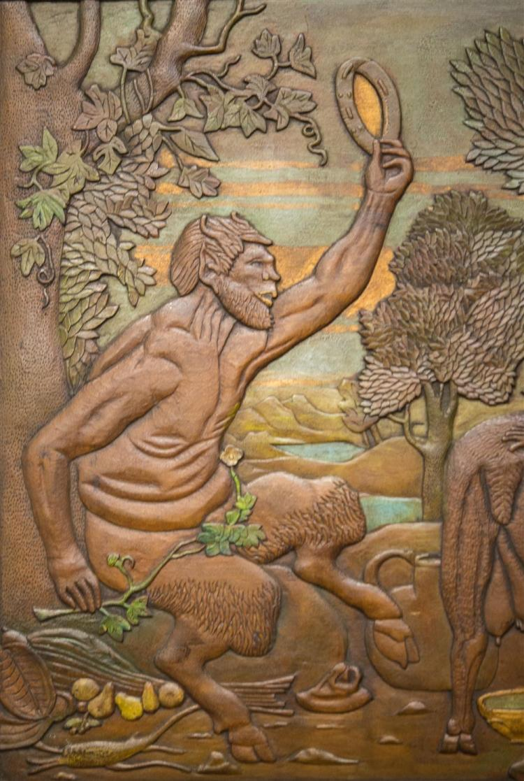 ATTRIBUTED TO NOAH WEISS, (American, 1842-1907), JUPITER AND THE GOAT AMALTHEA, ca. 1900, painted carved wood panel, 19 x 25 1/4 in....