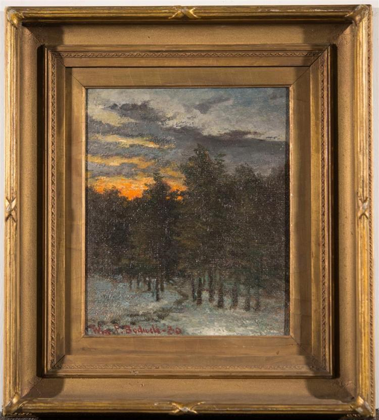 WILLIAM BODWELL, (American, 1852-1940), WINTER WOODS, 1880, oil on canvas, 12 1/4 x 10 1/4 in. (period frame: 19 1/2 x 17 1/2 in.)
