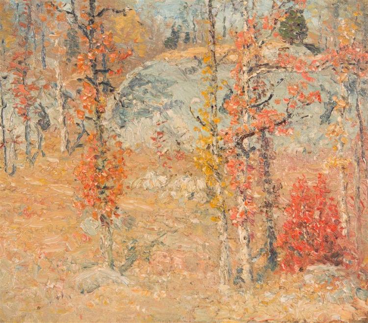 JOHN JOSEPH ENNEKING, (American, 1841-1916), AUTUMN LANDSCAPE, ca. 1895, oil on canvas, 12 x 14 in. (frame: 18 1/2 x 20 1/2 in.)