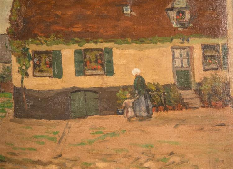 GEORGE ELMER BROWNE, (American, 1861-1974), BRITTANY VILLAGE SCENE, ca. 1900, oil on canvasboard, 17 1/2 x 21 in. (hand carved Foste...