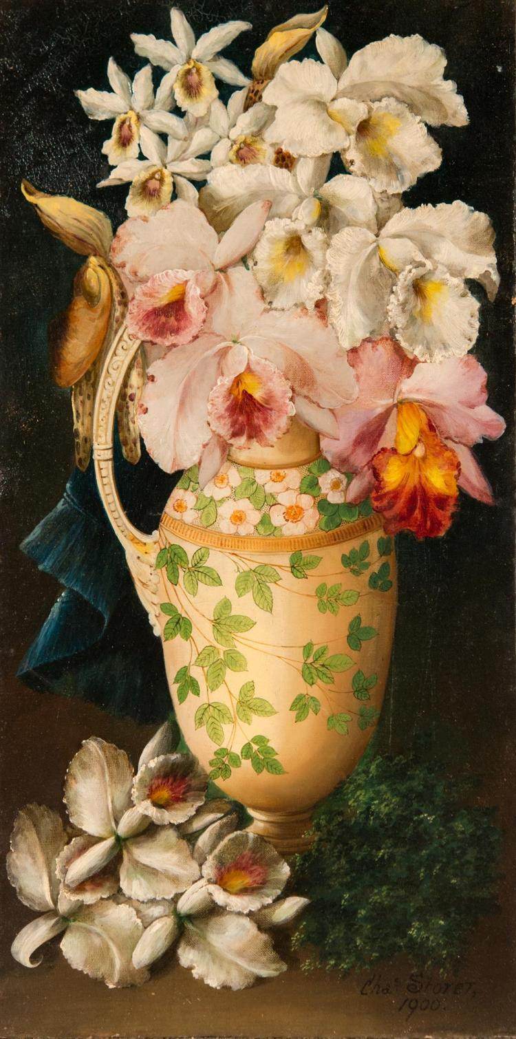 CHARLES STORER, (American, 1817-1907), ORCHIDS IN A VASE, 1900, oil on canvasboard, 25 1/2 x 13 in.