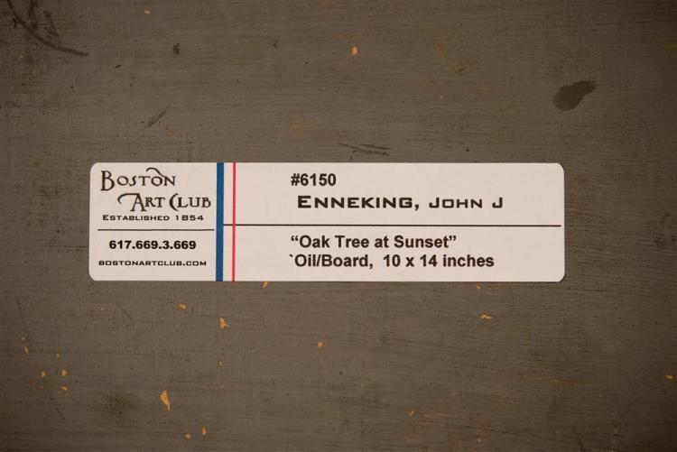 JOHN JOSEPH ENNEKING, (American, 1941-1916), OAK TREE AT SUNSET, ca. 1900, oil on artboard, 10 x 14 in. (frame: 15 x 18 3/4 in.)