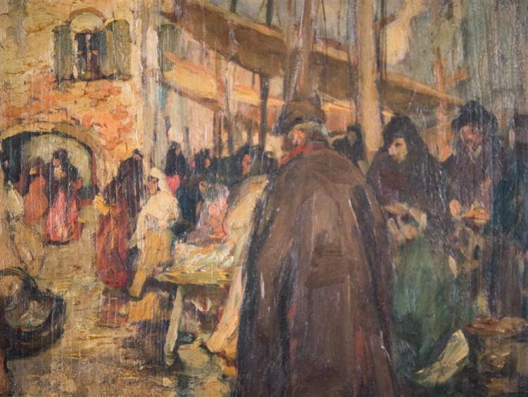 AUGUSTUS B. KOOPMAN, (American, 1869-1914), RAINY DAY AT MARKET, ca. 1900, oil on board, 23 1/2 x 18 1/2 in. (frame: 28 x 23 in.)