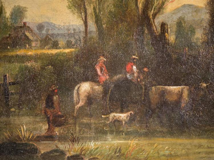 AMERICAN SCHOOL , (19th century), COUNTRY SCENE, ca. 1870, oil on canvas, 12 x 10 in. (in fancy period frame: 15 1/3 x 13 1/4 in.)